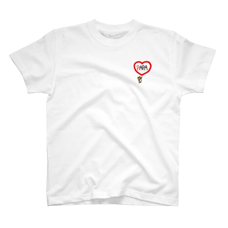 まめ@ゆるふわおもろ発見隊のパパクマちゃん T-shirts