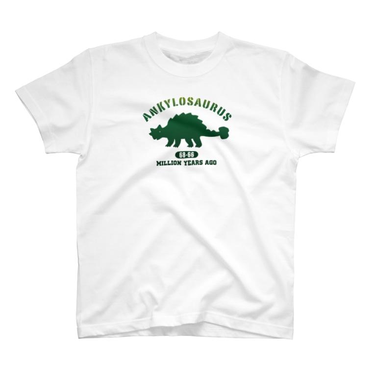 i-mokoのカレッジ風アンキロサウルス T-shirts