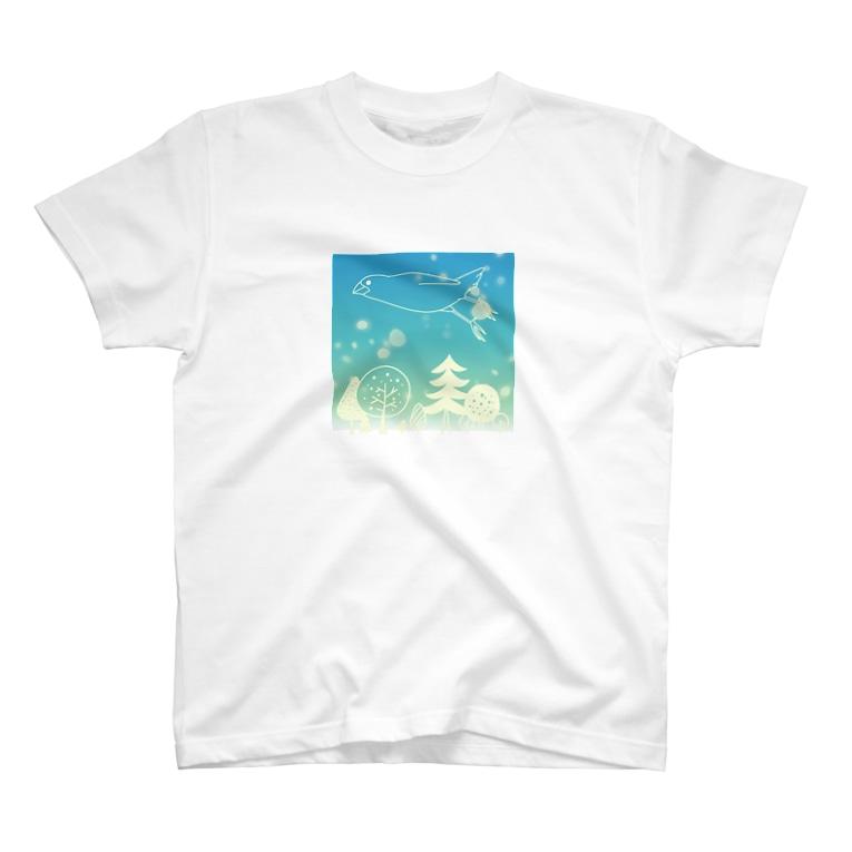 ・buncho days・ 文鳥デイズの北欧の空を飛ぶ文鳥 T-shirts