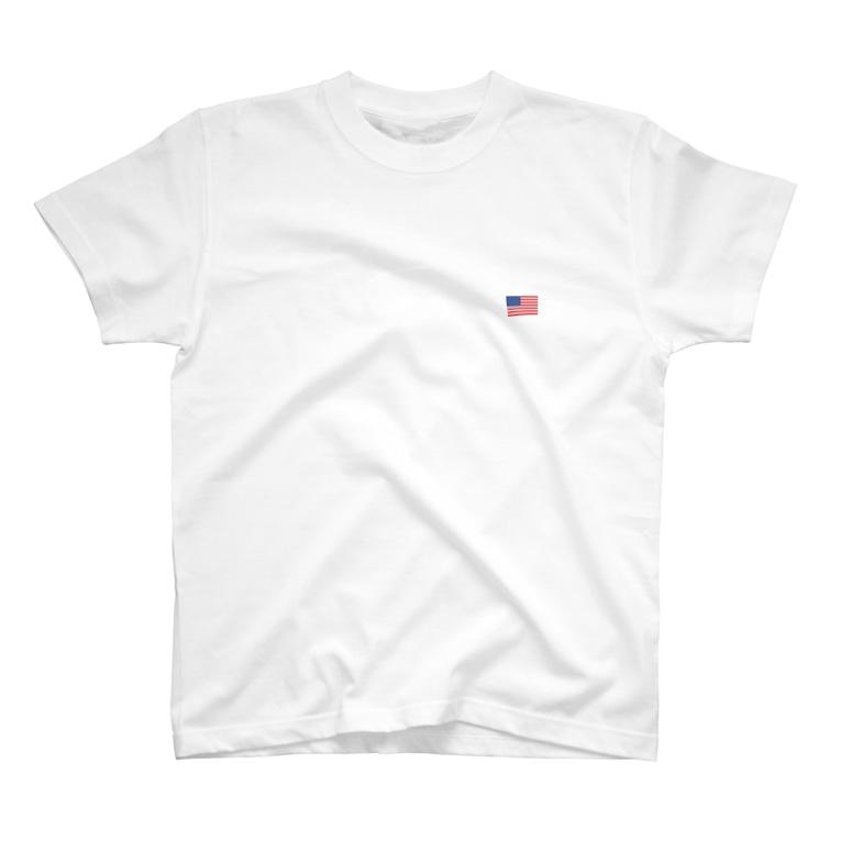 大のアメリカ国旗 胸ロゴ T-shirts