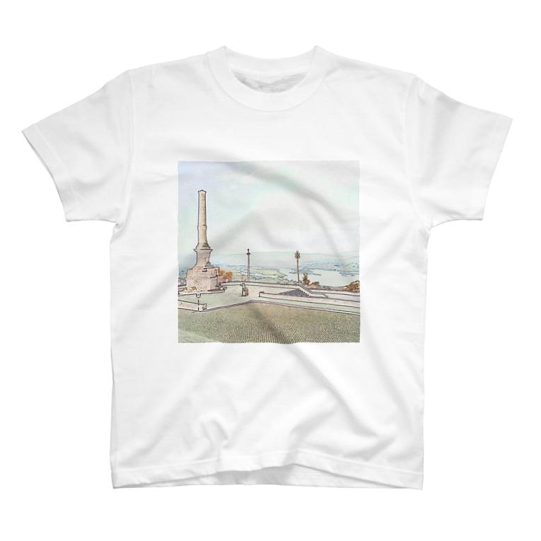 FUCHSGOLDのCG絵画:ヴィアナ・ド・カステロの風景画 CG art: Rio Lima / Viana do Castelo T-shirts