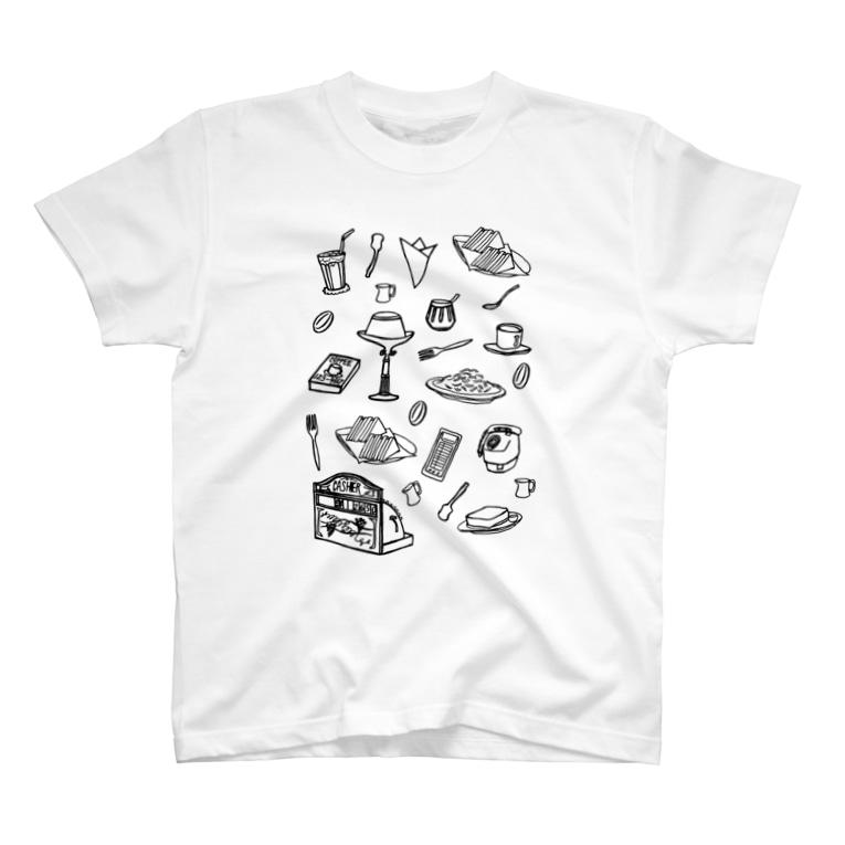 気ままに創作 よろず堂の純喫茶 モノクロ T-shirts