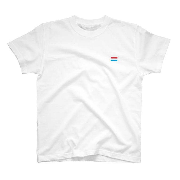 大のルクセンブルク国旗 胸ロゴ T-shirts
