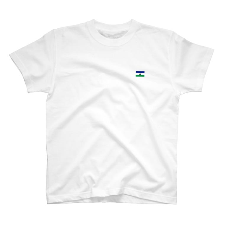 大のレソト国旗 胸ロゴ T-shirts