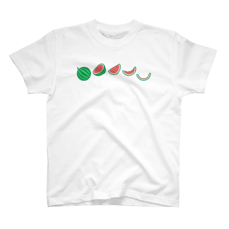 ☀️ひなたぼっくすの🍉スイカの満ち欠け(横) T-Shirt