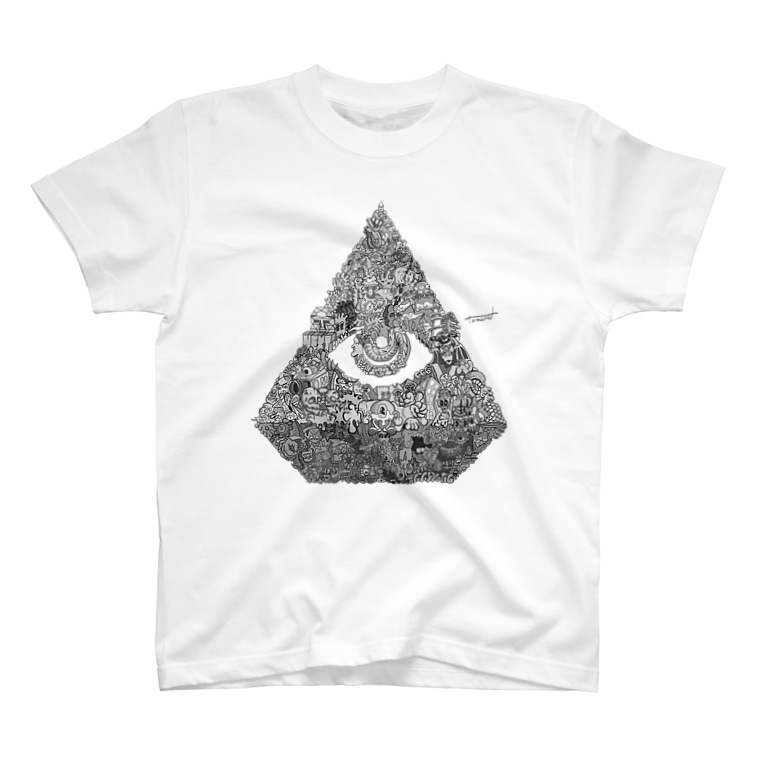 ひきこもりつむるくん🌜のMEISONくん モノクロ T-shirts