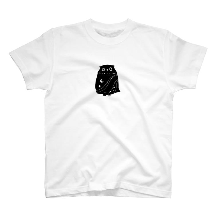 絵描きの消しゴムはんこ屋の夜のフクロウ T-Shirt