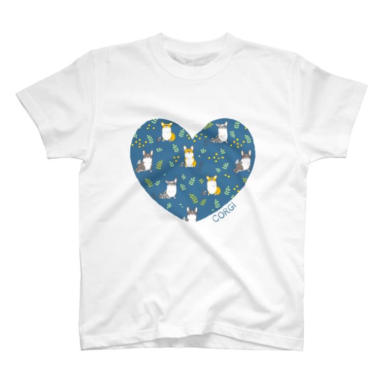 サカモトリエ/イラストレーターのLOVEコーギー T-shirts