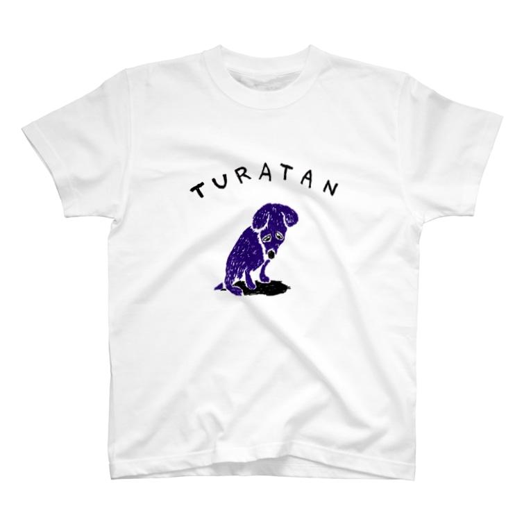 NIKORASU GOのユーモアわんこデザイン「つらたん」 T-shirts