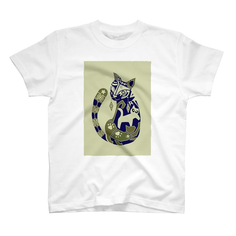 もよういぬ(グッズ販売)の18 ねこ(反転色) T-Shirt