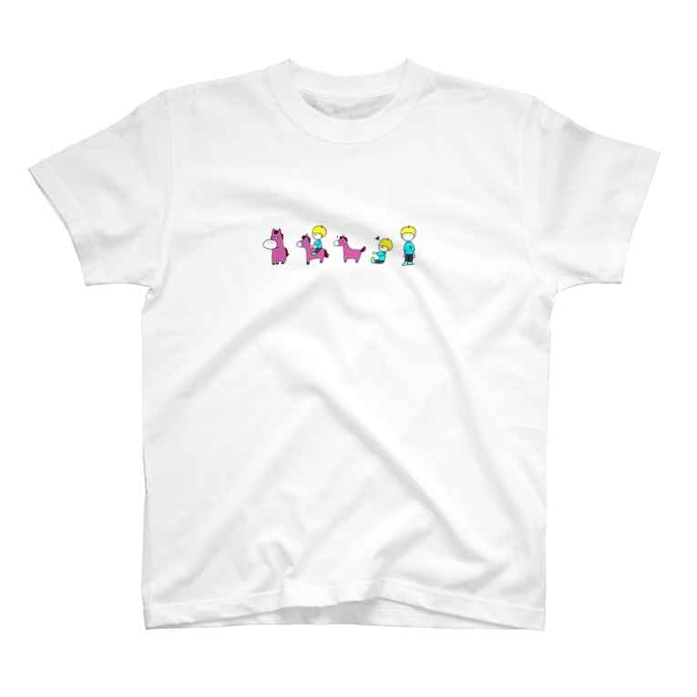 HarmonyCollege_Osyan-T-shirtのポニーと子どものイラストTシャツ(ピンクポニー) T-shirts