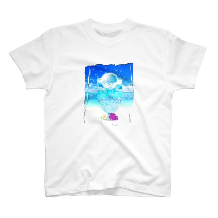 Yokokkoの店の海と空色のcream soda🍹(背景あり) T-shirts