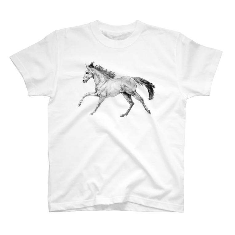 馬の絵の画家 斉藤いつみの馬の素描Tシャツ2 T-shirts