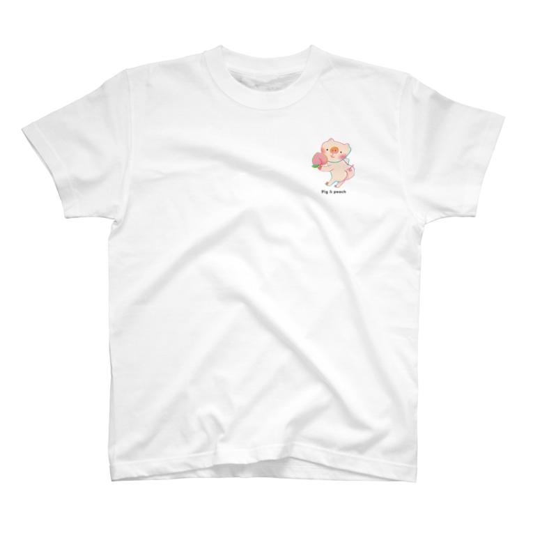 甲斐えるのブタ!ぶた!豚!のPig & peach ワンポイント T-shirts