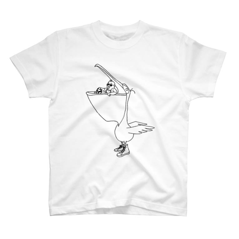 yomowabiの赤ちゃんとペリカンのドライブ T-shirts