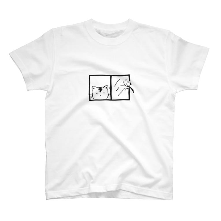 ねこのわっしょいの窓のぞきわっしょい T-shirts