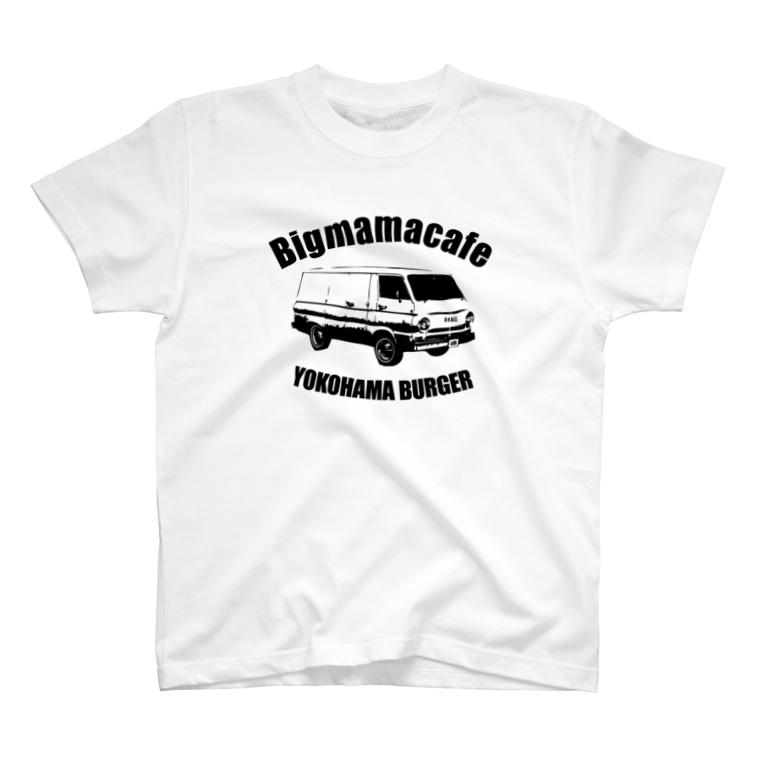 BigmamacafeのBigmamacafe YOKOHAMA BURGER A ブラック T-shirts