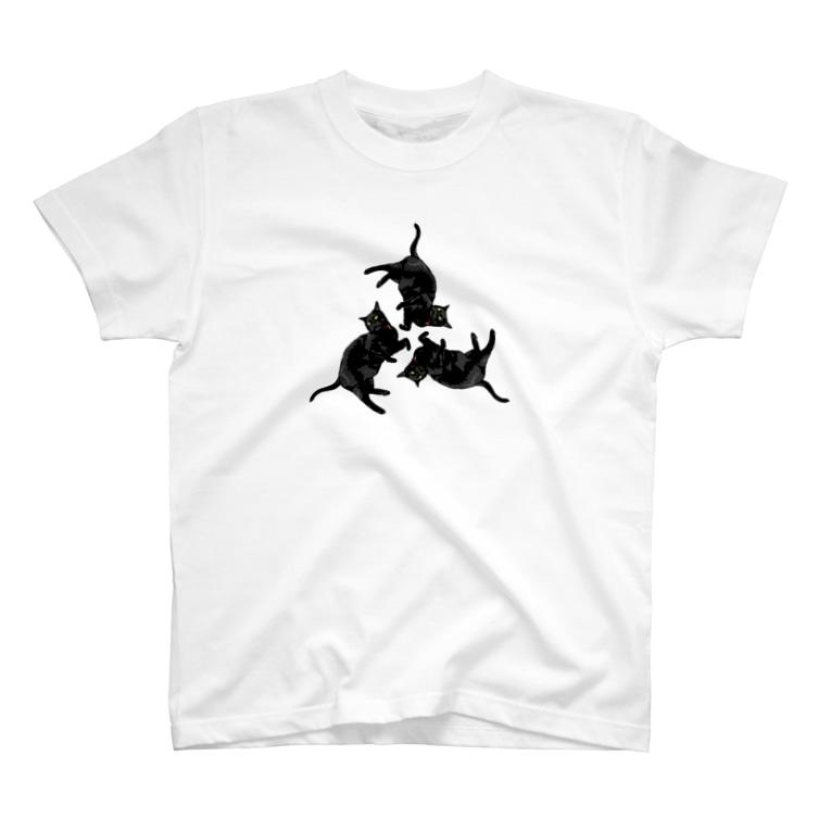 yojiyojiの黒猫トライアングル T-shirts