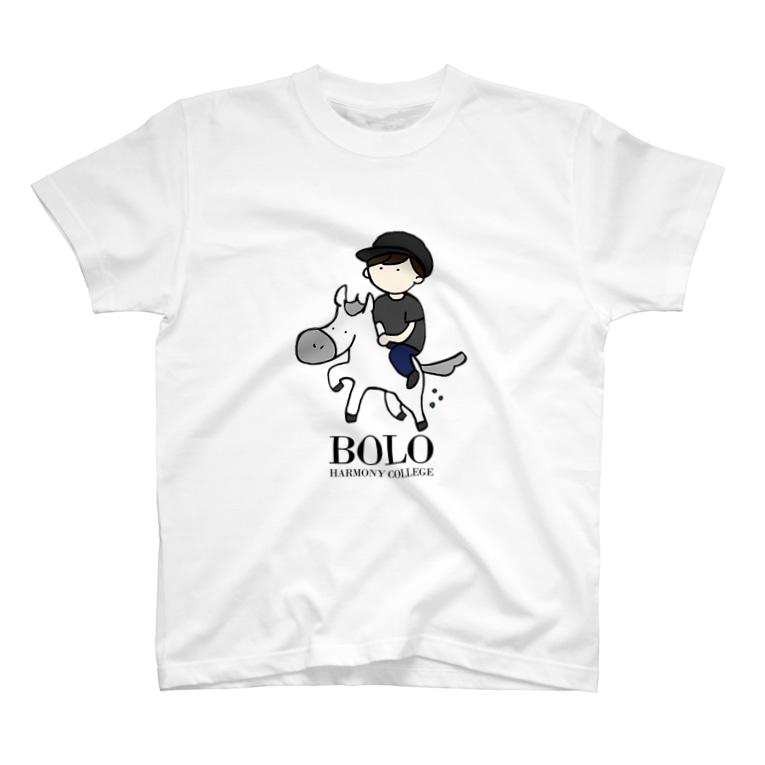 HarmonyCollege_Osyan-T-shirtのBOLOBOY(kuro)縦 T-shirts