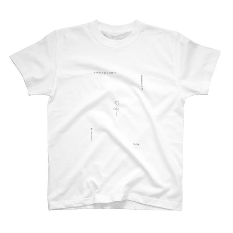 rilybiiの線画チューリップとメッセージ* T-shirts