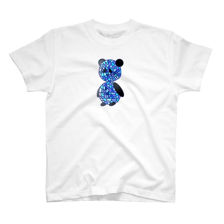 なすけの茄子屋のステンドグラス風パンダ T-shirts