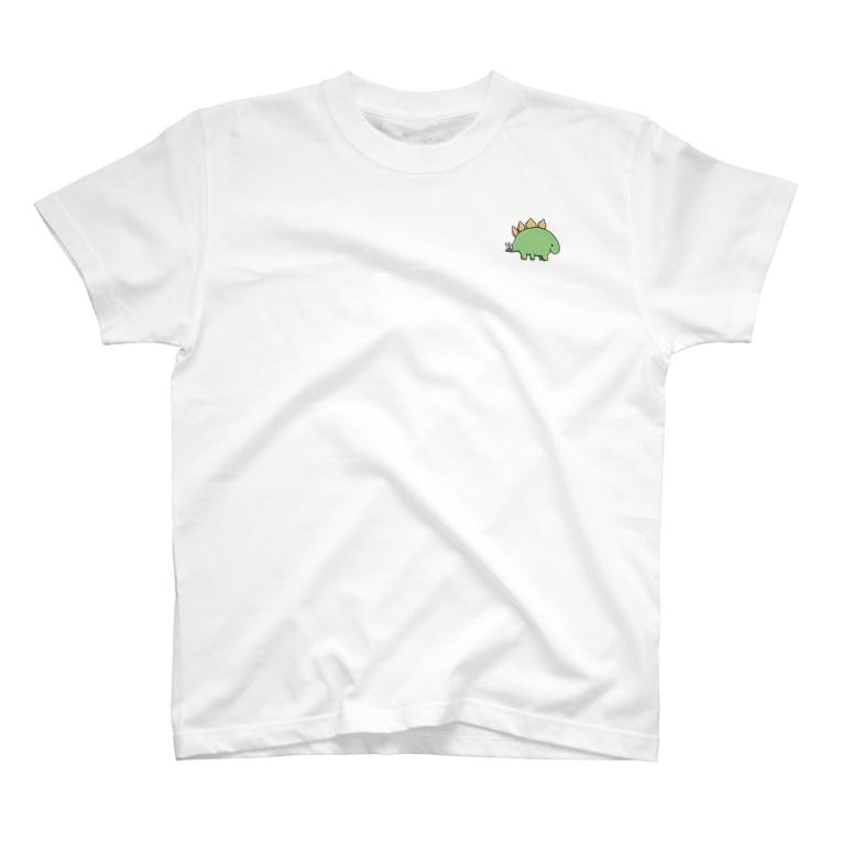 せみやま@セミブログのお店のほのぼの恐竜 ステゴサウルス T-shirts