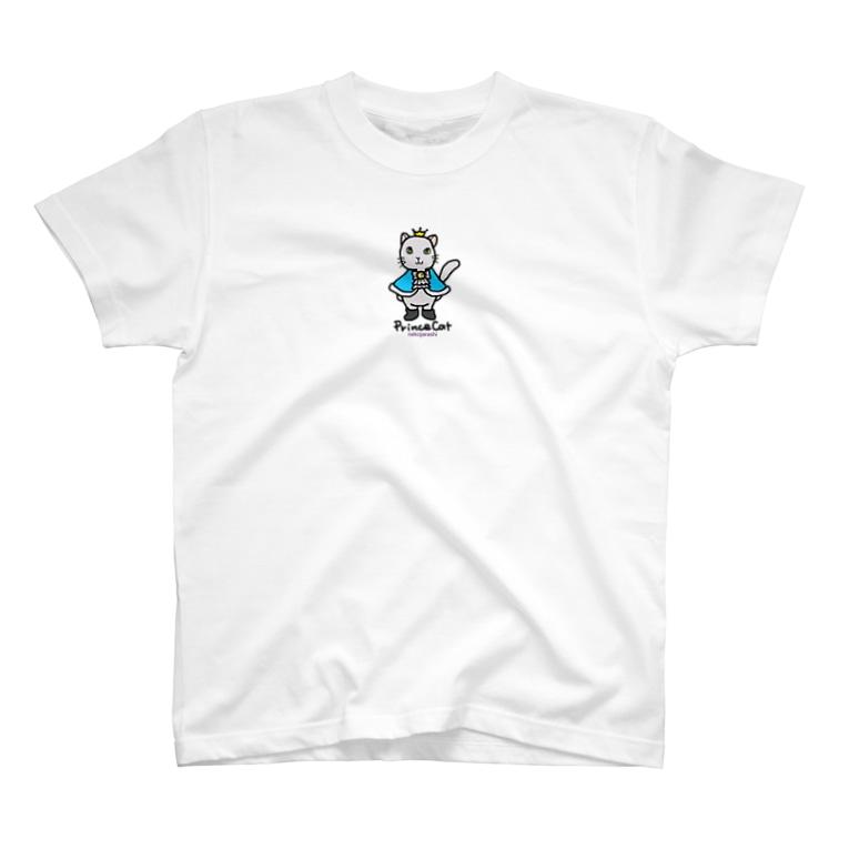 ゆきだるまころころのねこの王子様*ブルー T-shirts