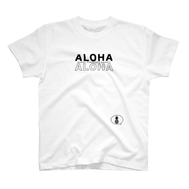 aloha_pineapple_hawaiiのALOHA ALOHA  吹き出しパイナップル 黒ロゴ 163 T-shirts