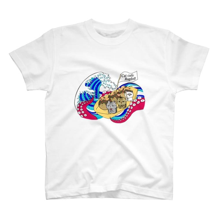 猫カフェラグドールの猫カフェラグドールたこ焼きデザイン T-shirts