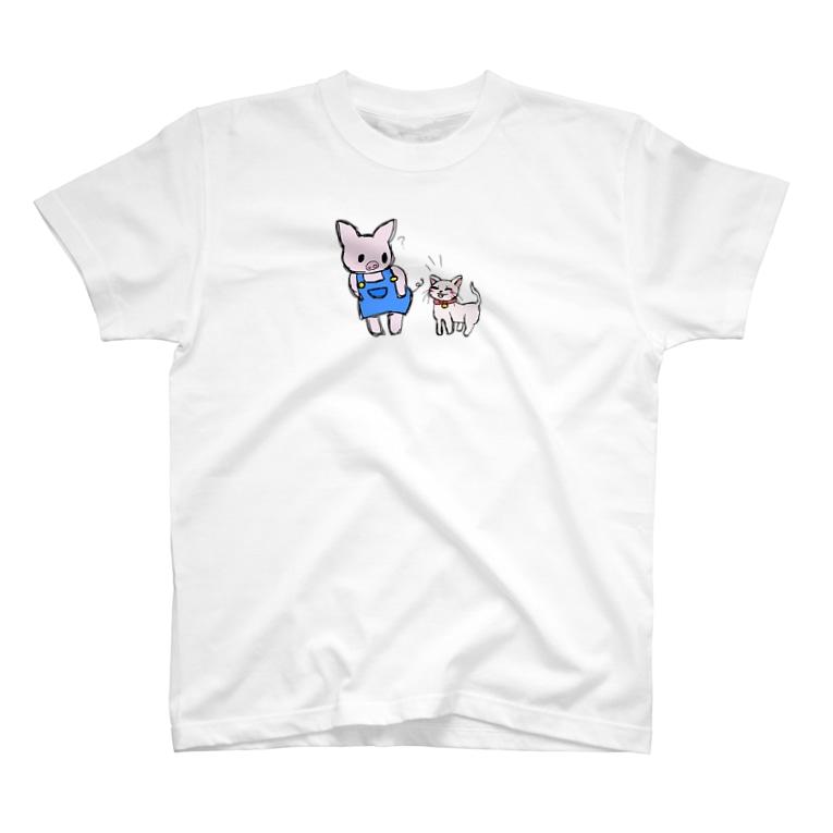 ayasa0827のブタのぶーたとネコのあずき T-shirts