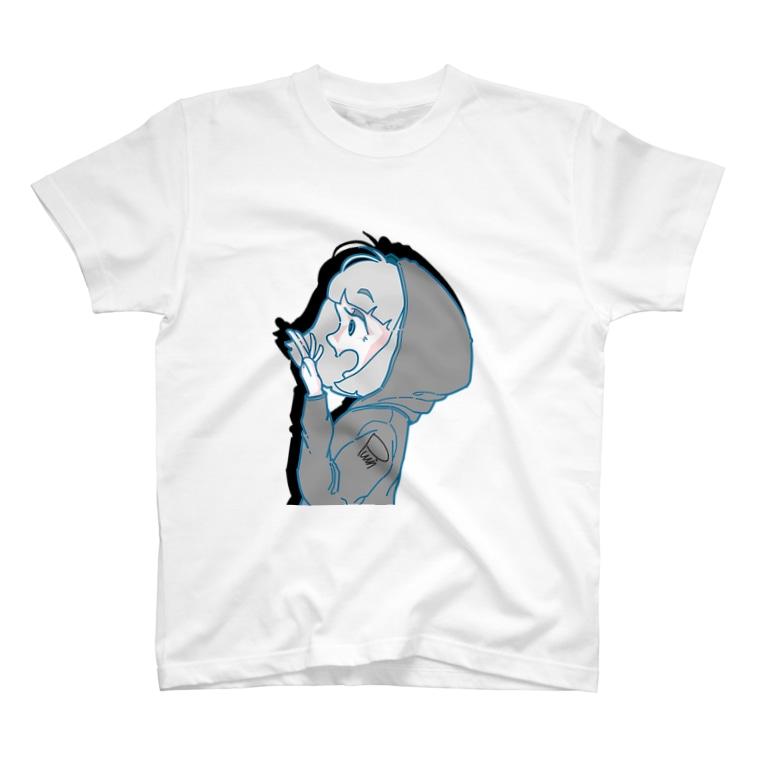 ぷいんのびっくり。横顔の女の子 T-shirts