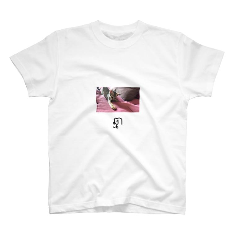 まっさん@カンボジアでサイクリングのカンボジア文字付き猫フォトT T-shirts