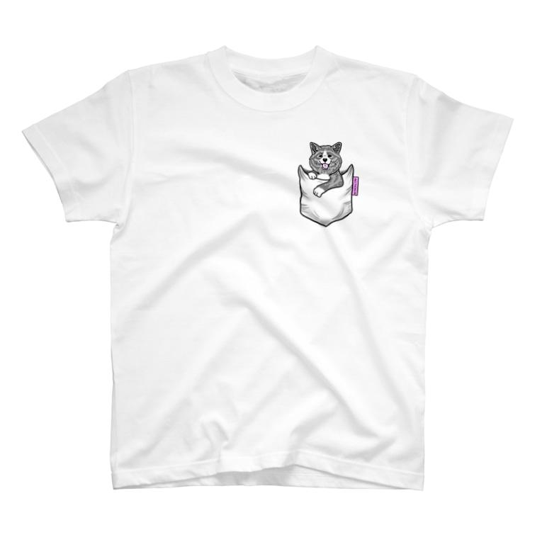 春風工房の秋田犬がポケットイン!虎 T-Shirt
