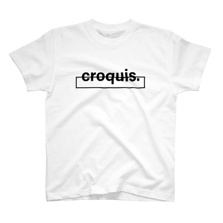 croquis.(クロッキー)の【suzuri限定13色カラーバリエーション】croquis./ベーシックロゴ(黒) T-shirts