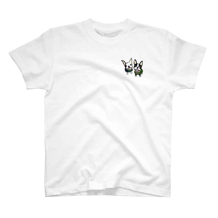 キャンプ&ボストンテリア です!のポポウパちゃん T-shirts