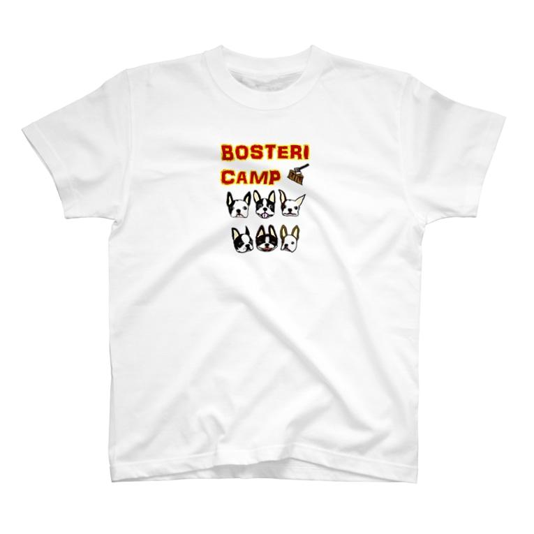キャンプ&ボストンテリア です!のボステリキャンプt T-shirts