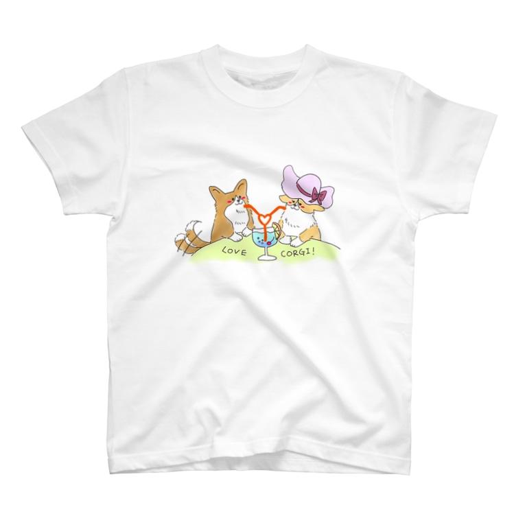 はじやのコーギーラブラブTシャツ T-shirts