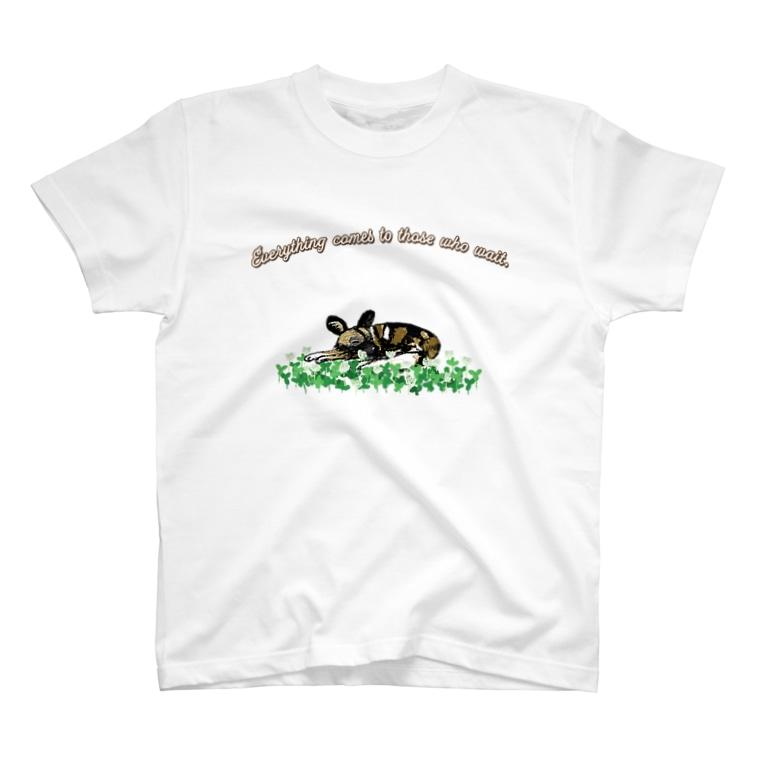 ぎんぺーのしっぽの果報を寝て待っているリカオン T-shirts