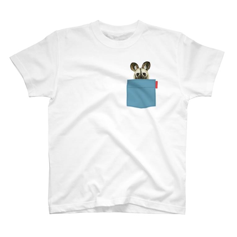 ぎんぺーのしっぽのポケットからリカオン T-shirts