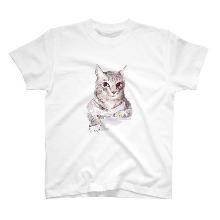 百合の筆のそんなにみつめないで!ドキドキしちゃうから♪かわいい猫のイラスト T-shirts