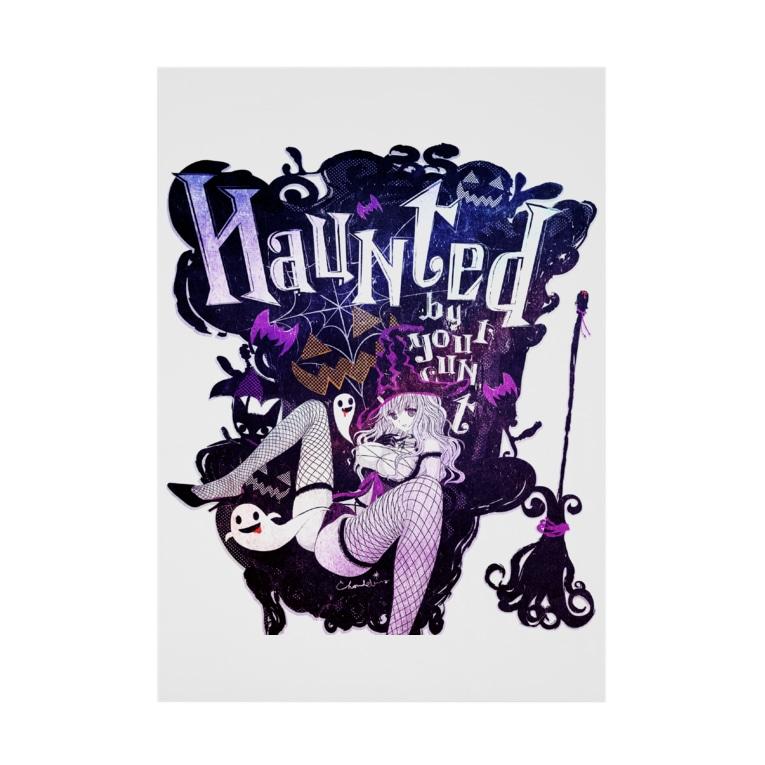 loveclonesのHAUNTED ハロウィンお化けと魔女の黒椅子 Stickable poster