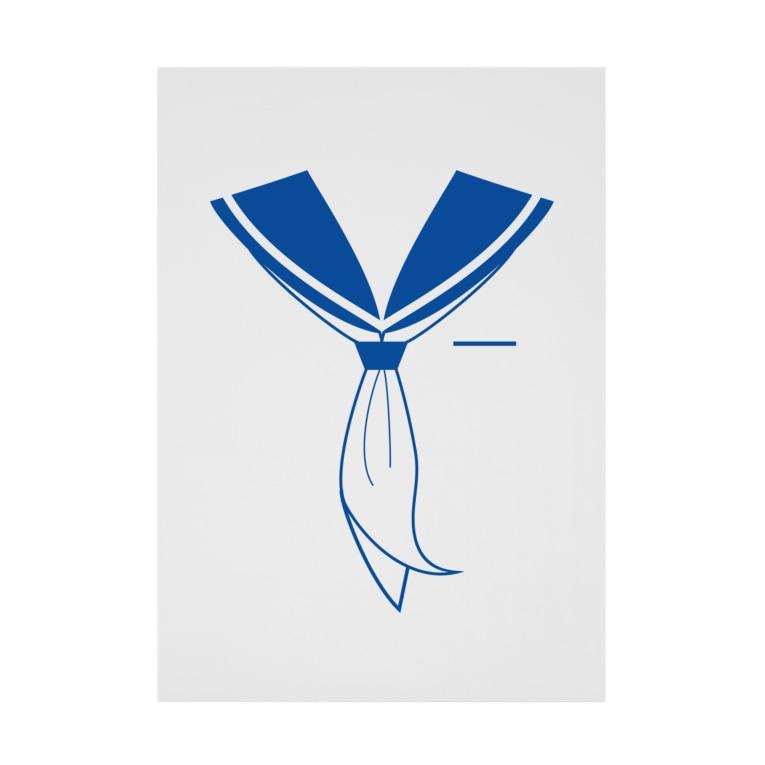 illust_designs_labのセーラー服 青 Stickable poster