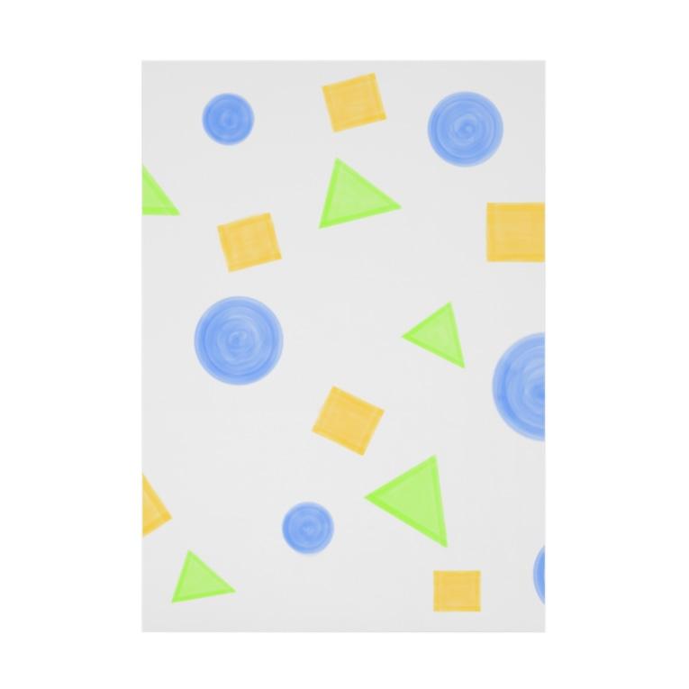 Lily birdの丸・三角・四角② Stickable poster