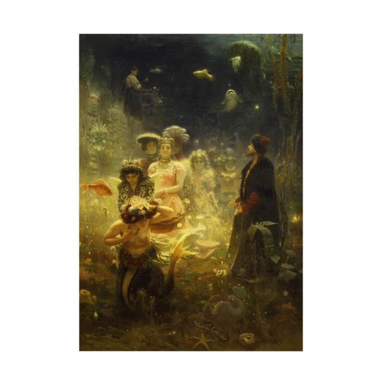 世界の絵画アートグッズのイリヤ・レーピン 《海底の王国でのサドコ》 Stickable poster