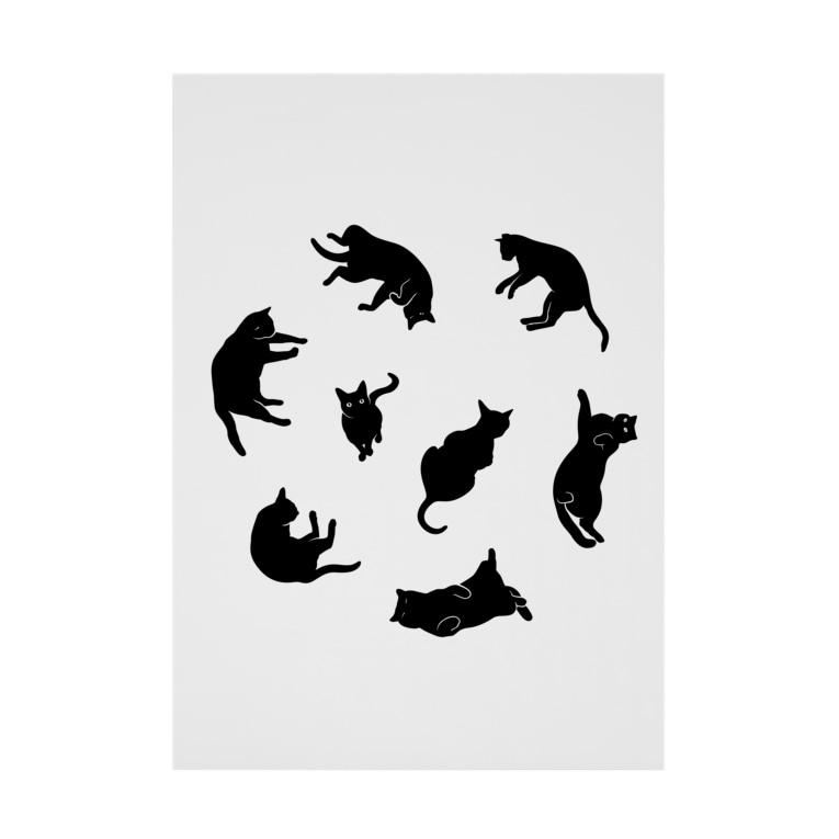 NOBODY754のKitties (Black Stickable poster