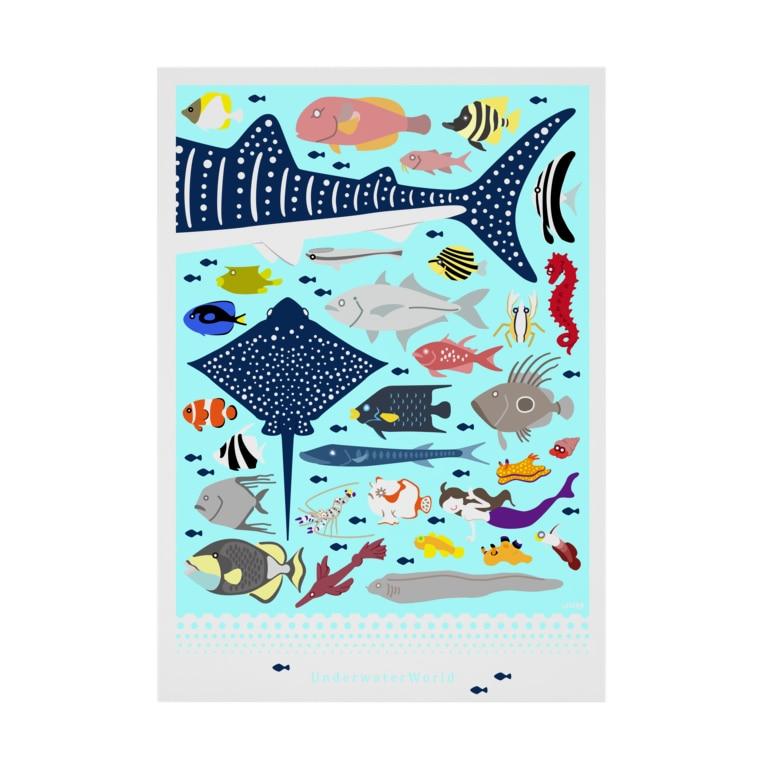 uki4837li.com SUZURI支店のUnderwater World 2019 Stickable tarpaulin