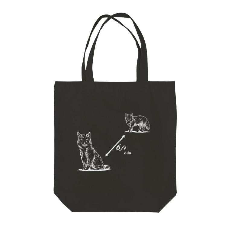 PygmyCat suzuri店の6ft開けるチベットスナギツネ(主線白ver) Tote bags