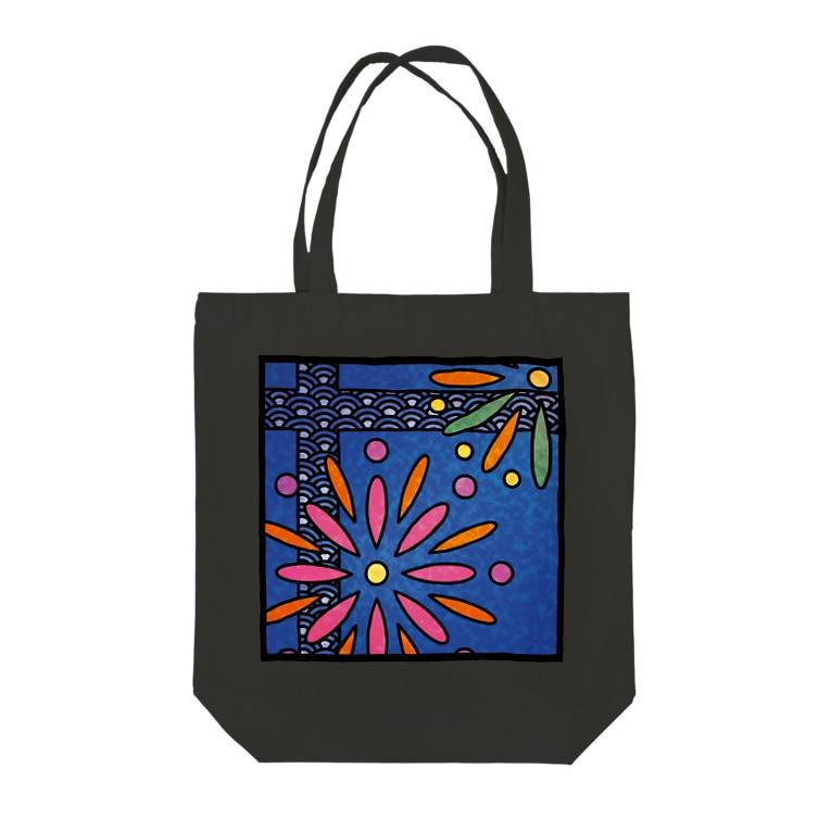 ねこやなぎ屋の和柄ステンドグラス風(花火×青海波) Tote bags