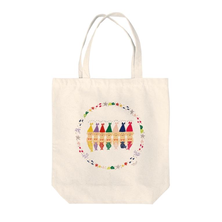 たにざきまほ*maho tanizakiのこびと人魚 Tote bags