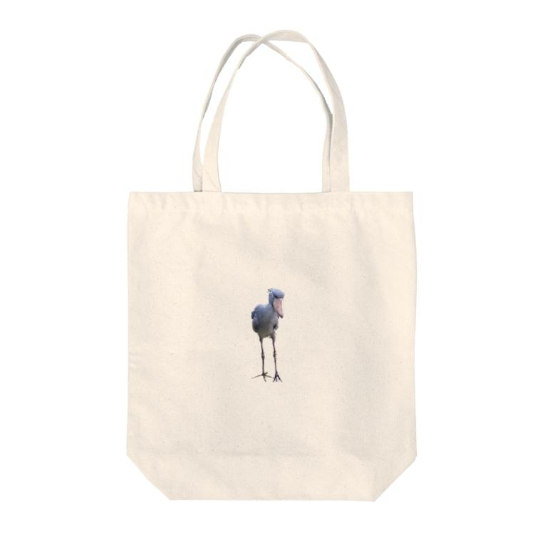 うどんやさんのハシビロコウさん Tote bags